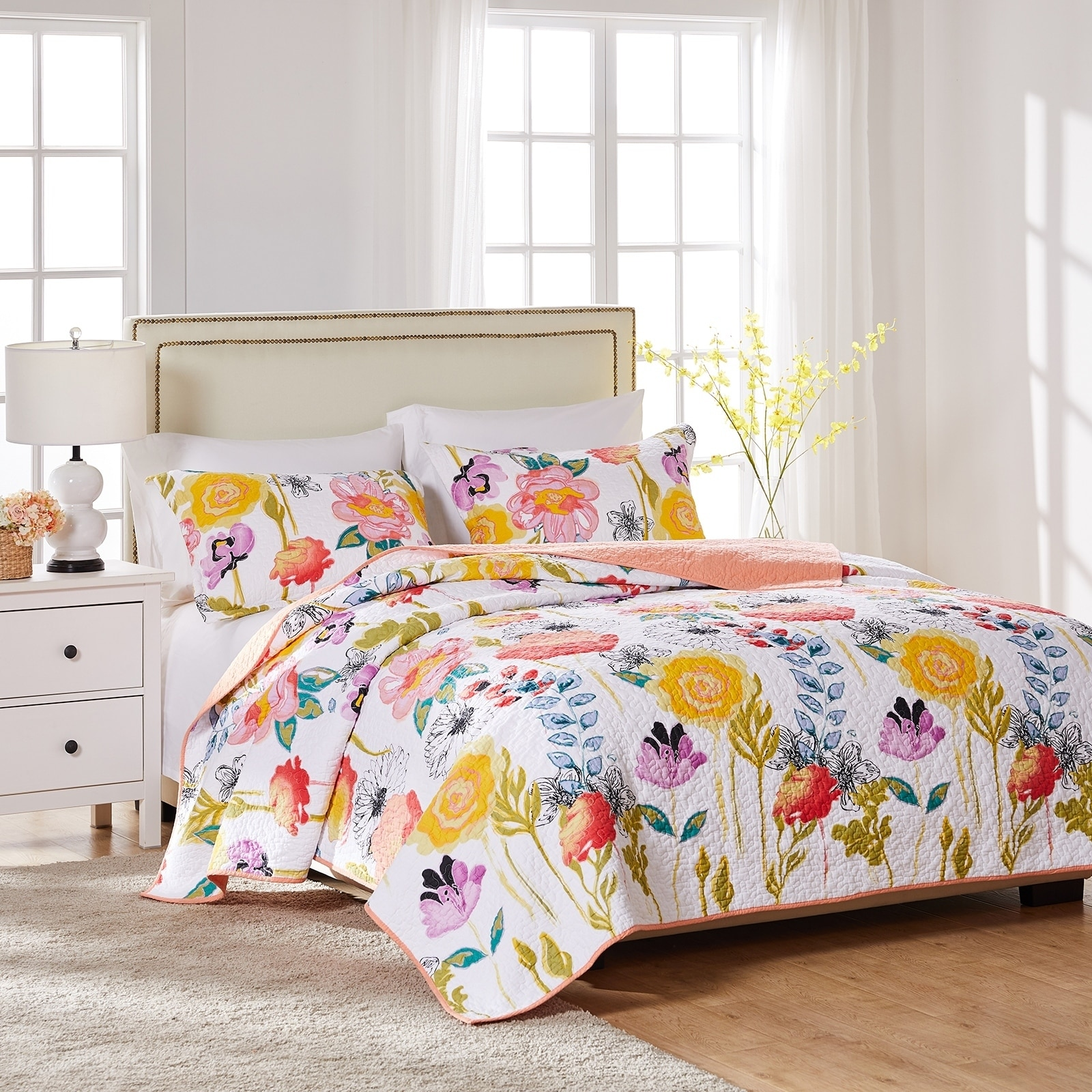 Greenland Home Watercolor Dream Oversized 3 Piece Cotton Quilt Set On Sale Overstock 9746558