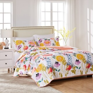 Greenland Home Fashions Watercolor Dream 3-piece Cotton Quilt Set|https://ak1.ostkcdn.com/images/products/9746558/P16920192.jpg?_ostk_perf_=percv&impolicy=medium