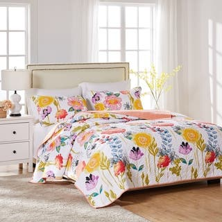 Greenland Home Fashions Watercolor Dream 3-piece Cotton Quilt Set|https://ak1.ostkcdn.com/images/products/9746558/P16920192.jpg?impolicy=medium