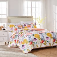 Greenland Home Watercolor Dream Oversized Reversible 3-piece Cotton Quilt Set