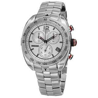 Tissot Men's T076.417.11.037.00 'PRS 330' Silver Dial Stainless Steel Chronograph Watch