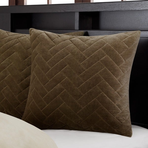 Metropolitan Home Wright Taupe Cotton Velvet Quilted 26 X 26 Inch Euro Sham  Hidden Zipper