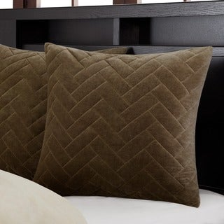 Metropolitan Home Wright Taupe Cotton Velvet Quilted 26 x 26-inch Euro Sham Hidden Zipper Closure