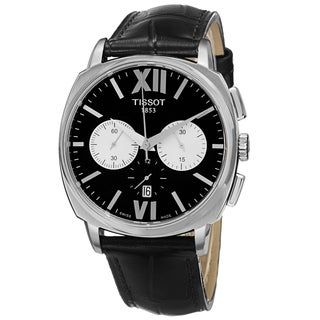 Tissot Men's T059.527.16.058.00 'T Lord' Black Dial Black Leather Strap Chronograph Automatic Watch