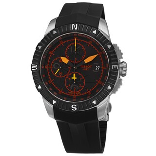 Tissot Men's T062.427.17.057.01 'T Navigator' Black/Orange Dial Black Rubber Strap Chronograph Watch