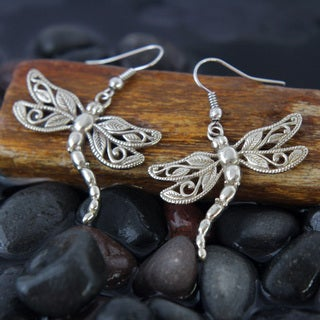 White Brass Dragonfly Dangle Earrings (Indonesia)