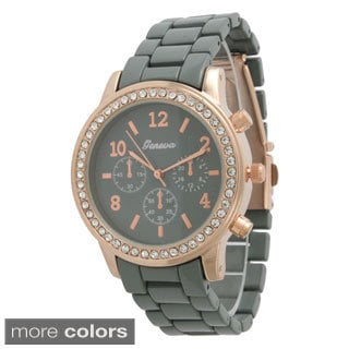 Olivia Pratt Women's Colorful Small Boyfriend Watch Rhinestone Bezel