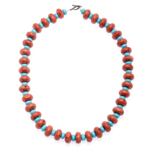 Handmade Turquoise Necklace with Natural Finished Stone (India)