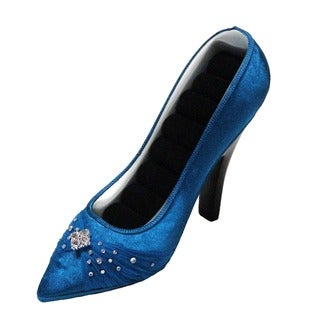 Porcelain Gemstone High Heel Pumps Blue Shoe Ring Holder