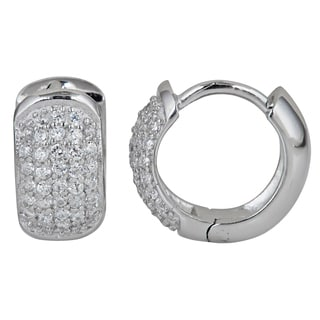 Decadence Sterling Silver Micropave Cubic Zirconia 5-strand Hoop Earrings