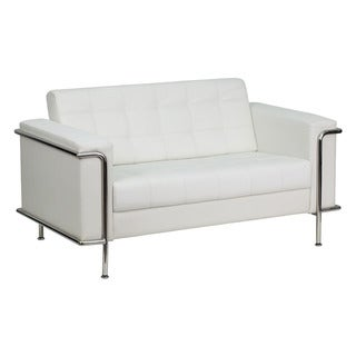 Hercules Lesley Series Contemporary White Leather Loveseat with Encasing Frame