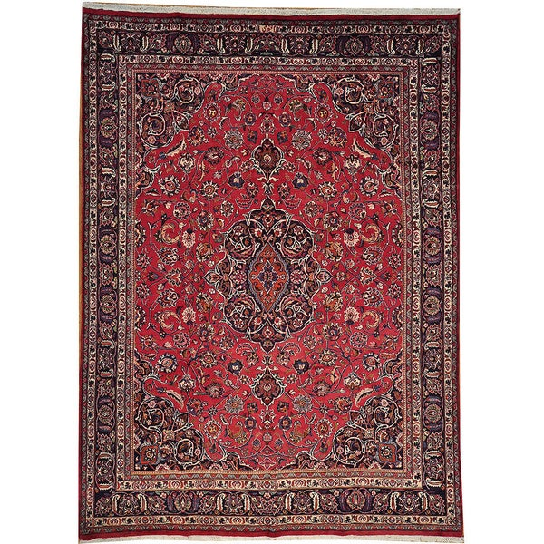 Vintage Persian Bokhara Wool Area Rug 10 X 13: Excellent Condition Semi Antique Persian Mashad Handmade