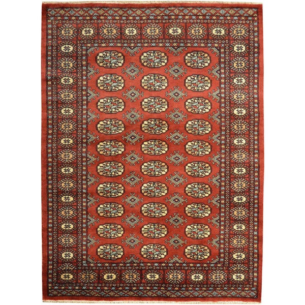 Hand Knotted Persian Style Wool Pile Area Rug: Hand-knotted Bokara Elephant Feet Design Oriental Rug Wool