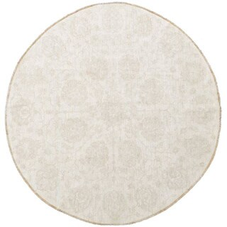 Hand-knotted Round Stone Wash Peshawar Wool Area Rug (8' x 8'3)