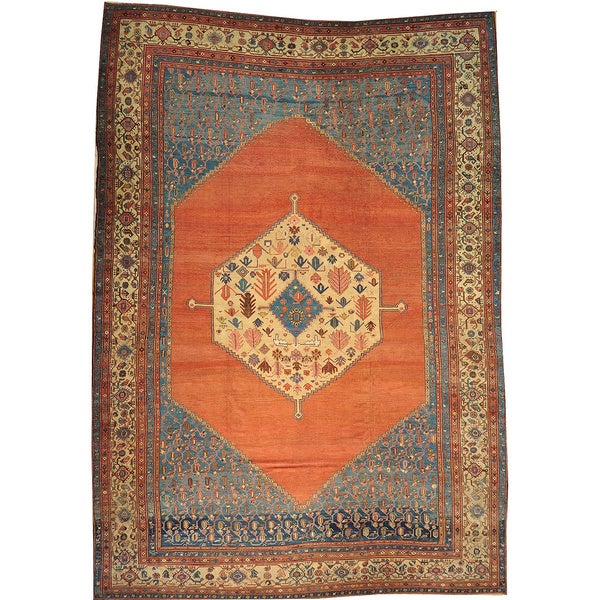 Vintage Persian Bokhara Wool Area Rug 10 X 13: Shop Hand-knotted Antique Persian Bakshaish Open Field