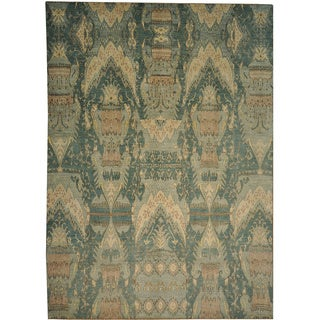 Hand-knotted Denim Blue Ikat Uzbek Design Wool Area Rug (10'1 x 14')