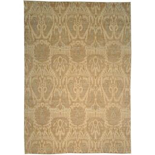 Hand-knotted Ikat Uzbek Design Ivory Wool Area Rug (10'1 x 14'4)