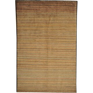 Hand-knotted Striped Peshawar Gabbeh Wool Area Rug (6'2 x 9'5)