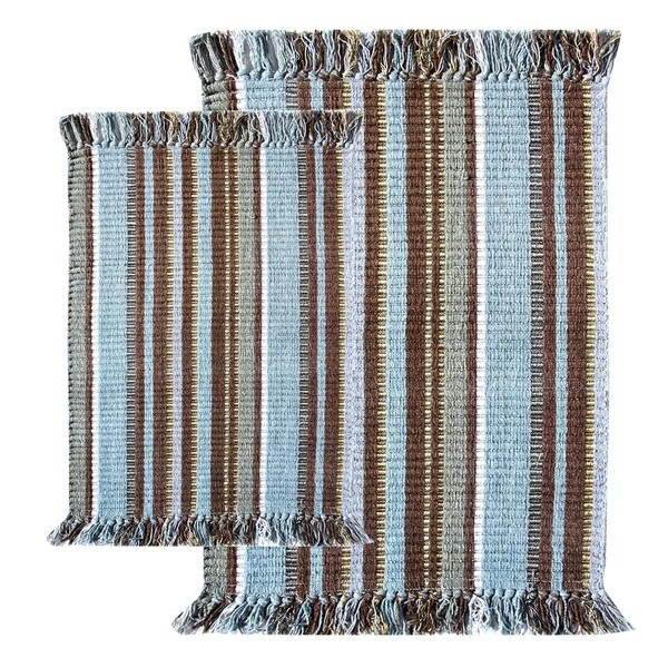 Blue Striped Silk Ribbed 2-piece Rug Set
