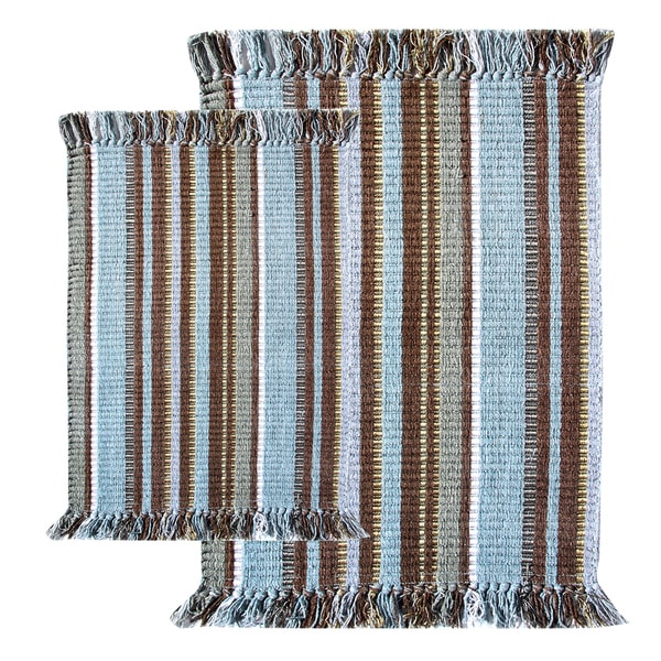 Blue Striped Silk Ribbed 2 Piece Rug Set Free Shipping