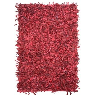 Contemporary Red Leather Shag Rug (5x8) - 5' x 8 '