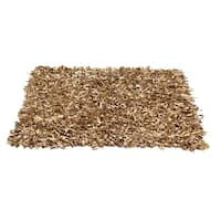 Shaggy Tan Leather Rug - 5' x 8 '