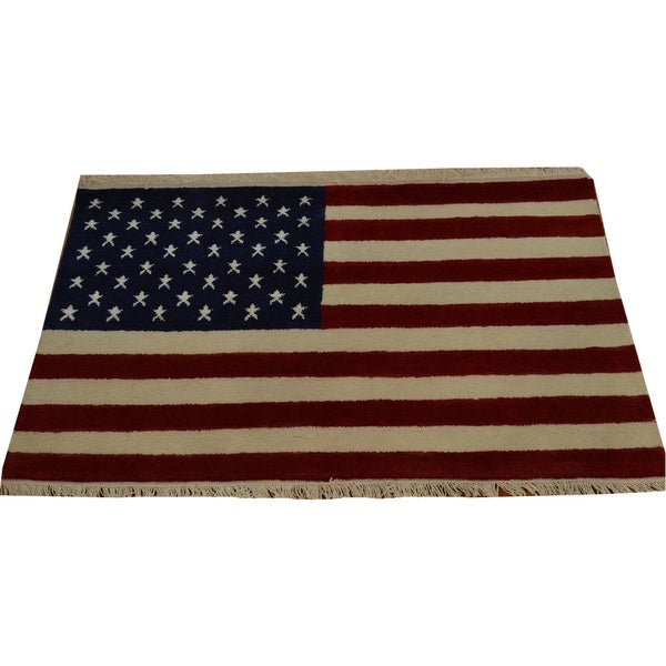 Hand-knotted Oriental Rug American Flag Design Wool Area Rug - Multi - 2'7 x 4'