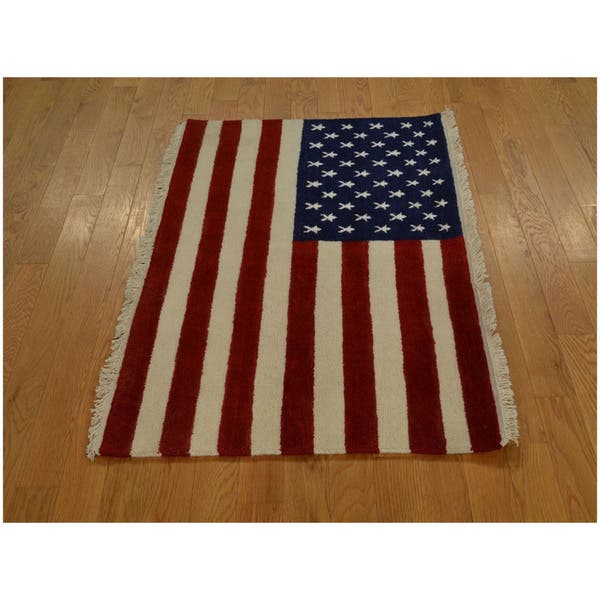 Hand Knotted Oriental Rug American Flag Design Wool Area Rug Multi 2 7 X 4 Overstock 9750751