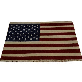 Hand-knotted Oriental Rug American Flag Design Wool Area Rug (2'7 x 4')