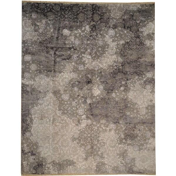 Broken Design Silk Oriental Silver Wash Rayon From Bamboo Area Rug 7 X27