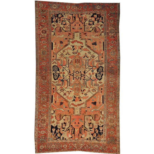 5 X 6 Vintage Kazak Persian Oriental Wool Hand Knotted: Hand-knotted Antique Persian Serapi Gallery Size Wool Area