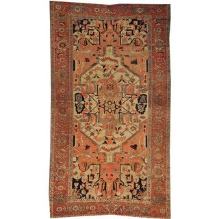 Hand-knotted Antique Persian Serapi Gallery Size Wool Area Rug (6'9 x 12')