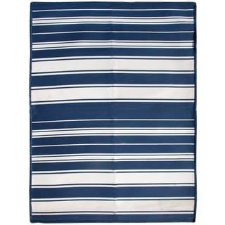Blue Striped Flat Weave Rug (2'8 x 5')