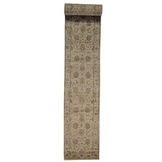 Silver Wash Oushak xL Runner Silk Rayon from Bamboo Area Rug (2'6 x 19'8)