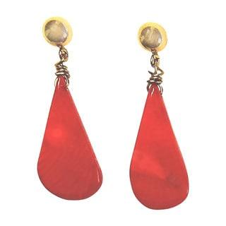 14k Goldfilled Teardrop Coral Dangle Earrings