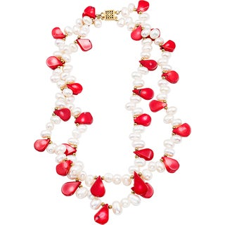 14k Goldplated Pear-shaped Red Coral and Biwa Pearl Necklace (7.5mm - 13mm)