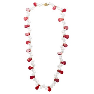 Pear Shaped Red Coral and Biwa Pearl Necklace