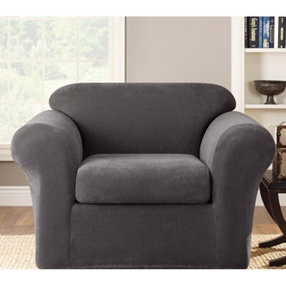 Sure Fit Gray Stretch Metro Chair Slipcover Color Grey (As Is Item)