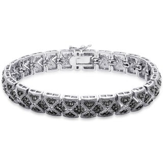 Finesque Silver Overlay 1/4 ct TDW Black Diamond Lattice Design Bracelet (Black)