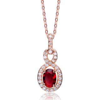 Collette Z Rose Goldplated Sterling Silver Cubic Zirconia Oval Necklace