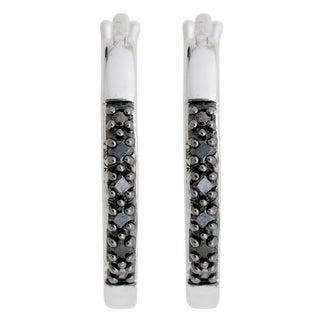 Divina Sterling Silver 1/8ct TDW Black Diamond Hoop Earrings