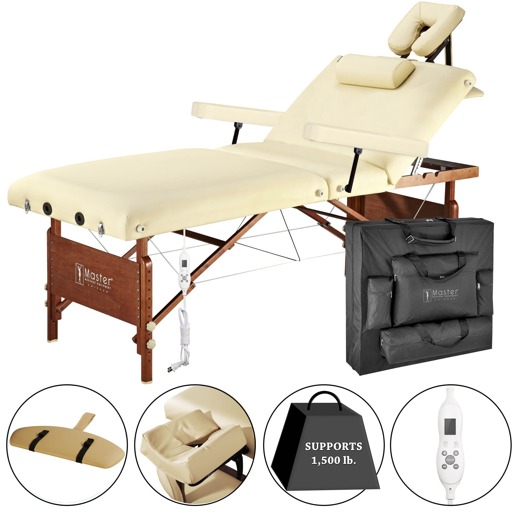 Master Massage Del Ray Heated Top Salon Massage Table, Br...