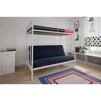 Shop White Metal Twin Bunk Bed With Futon On Sale Free