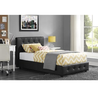 DHP Dakota Black Faux Leather Upholstered Twin Bed