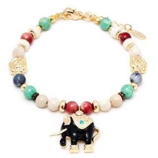 Peermont Jewelry 18k Gold Overlay Multicolored Crystals Elephant Charm Bracelet