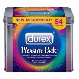 Durex Pleasure Pack Natural Rubber Premium Latex Condoms (54 Count)