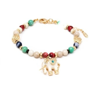 Peermont Jewelry 18k Gold Overlay Multicolored Crystal White Elephant Charm Bracelet