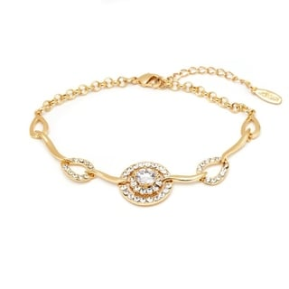 Peermont Jewelry 18k Gold Overlay White Crystal Round Link Bracelet