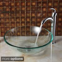 Elite Clear Round Tempered Glass Bowl Vessel Sink and Faucet Combo