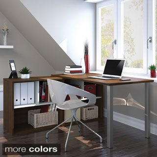 i3 by Bestar L-shaped Desk with Open Storage Unit